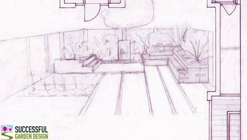Courtyard Garden Sketch