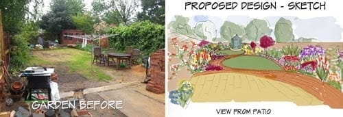 Ray's garden before and after design - please note, normally sketches are in black and white for level 3 design service.