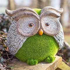 La Hacienda Flocked Owl Garden Ornament