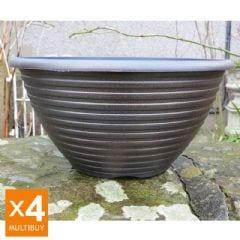 Striation Bowl Planter - Black and Copper - x4 Multi Buy